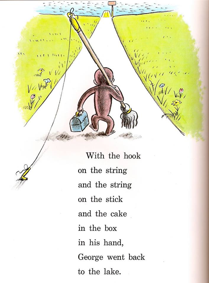 monkey business: the adventures of curious george's creators still, curious george illustration, with the hook on the string and the string on the stick, mop, toolbox
