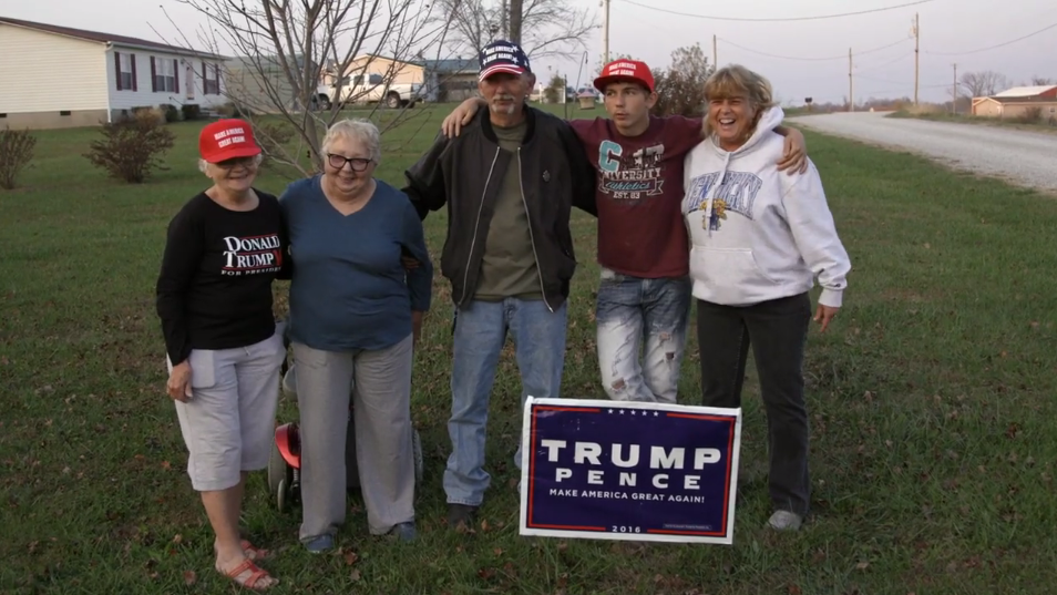 Hillbilly Documentary Still - Family On Front Lawn With Trump & Pence Sign